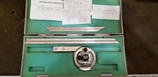 """Mitutoyo 187-906 Universal Bevel Protractor with 12"""" & 6"""" Blades Near Mint Japan"""