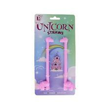 Set of 2 Reuseable Unicorn Straws Novelty Drinks Fun