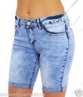 NEW Womens Denim Blue Shorts Knee length Turn Up Pedel pusher Size 8 10 12 14 16