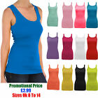New Womens Cami Plain Strap Ribbed Sleeveless Summer Vest Casual Top Blouse 8-14