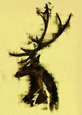 Enmarcado impresión Abstracto Stag imagen (Ciervo Alce Corzo Reno Alce animal)