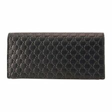 Gucci Mens GG Logo Dark Brown Soft Leather Long Card Case Wallet 544479