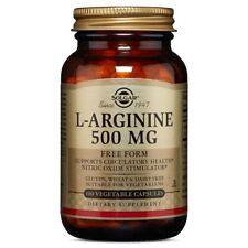 Solgar L-Arginine 500 mg 100 Vegetable Capsules FREE Shipping Made in USA FRESH