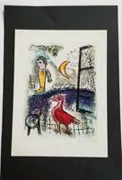 """Marc Chagall """"De Mauvalis Sujets VIII"""" Mounted offset Lithograph 9'' x 12'' 1968"""