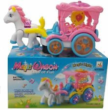 KIDS GIRLS PINK PONY MAGICAL WAGON WITH LIGHT AND SOUND BUMP & GO TOY