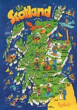 Greetings from Scotland, Aberdeen, Glasgow, Edinburgh, Lochness etc Map Postcard