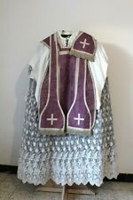 Chasuble Roman Of Priest Stole & Manipulates IN Silk Purple Early 19th Century