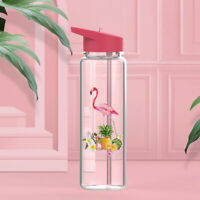 AU_ BL_ 720ml Outdoor Sports Cute Flamingo Drinking Straw Water Juice Bottle Cup
