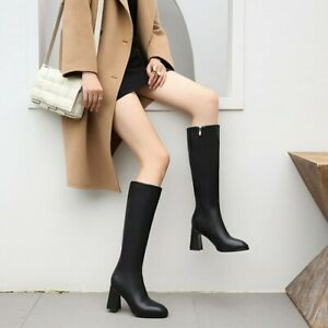Ladies Block Heels Square Toe Side Zipper Boots Combat Knee High Boots Shoes SZ