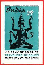 Bank of America BOA 1959 Ad ~ Travelers Cheques Checks ~ INDIA Hindu Goddess