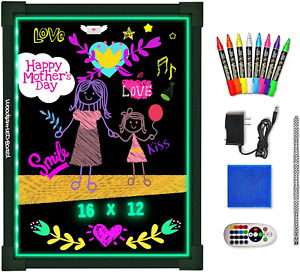 """Woodsam Dry Erase Led Board - 16"""" x 12"""" Erasable Neon Message Drawing Learning 2"""