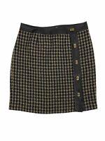 Talbots Women's Size 12 Wool Tweed Faux Leather Trim Turn Lock Button Skirt
