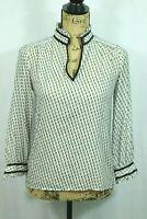 J.CREW 00 Silk Blouse Black White Ruffle Collar Women's Dress Career Polka Dot