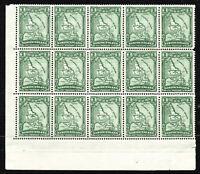 Newfoundland 1929-31 SG179 1c. Green MNH Blk of 15 stamps