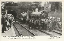 RP Railway Postcard SR C Tunbridge Wells Derailment SECR 0-6-0 Loco Pamlin