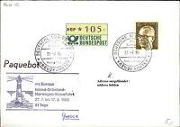 105 Pf. ATM-Werte auf Schiffspost Brief Eilzustellung Ship Schiff MS EUROPA 1985