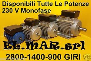 Motore Elettrico Monofase B3 CON PIEDINI giri 2800 1400 900 rpm poli 2 4 6 230 V