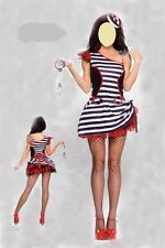 New Sexy Ladies Womens Convict Prisoner Fancy Dress Costume outfit 8-10