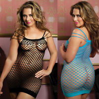 Plus Size Lingerie One Size Queen Black or Blue Mini Dress Chemise   STM9512X