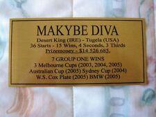 Makybe Diva Gold Plaque **Free Postage
