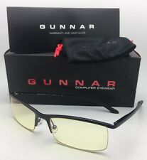 New GUNNAR Computer Glasses EMISSARY 55-18 Onyx Black Frame w/ Amber yellow Lens