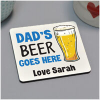 PERSONALISED Dads Beer Goes Here Birthday Drinks Coaster Gifts for Grandad
