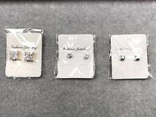 3pcs Magnetic 1 Round Cut Clear 2 Square CZ Men Unisex Stud Earrings No Piercing