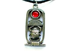 Scarab Egyptian Red jewelled Handmade Pewter Pendant,