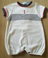 Beautiful baby boys white red spanish/romany romper/playsuit by sardon 3months.