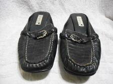 "BRIGHTON ""Andie"" Black/Croco Moc Mule Slides Shoes 9.5M EUC"