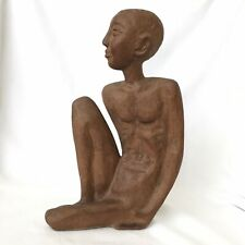 Carved Wood Figural Sculpture Of Nude Man, Artist Andre Lafontant 1971 Fine Art