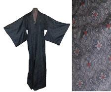 VTG 70s Abstract Print Japanese Asian Kimono Festival  Duster Jacket wrap Robe
