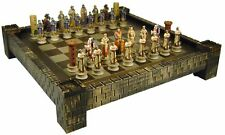 Medieval Times Crusades ARABIAN vs CHRISTIAN KNIGHTS  Chess Set W/ CASTLE Board