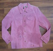 RQT Sophisticated Clothing Pink 100% Genuine Leather Jacket Suede Beaded Detail