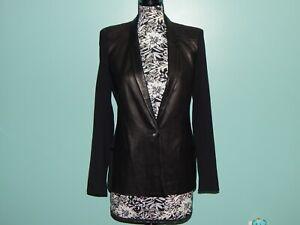 Helmut Lang One Button Black Lambskin Leather Blazer Jacket Fabric Sleeves sz 34