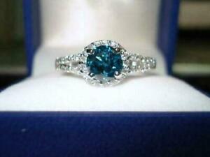 2Ct Round Cut Blue Topaz & Diamond Engagement Wedding Ring 14K White Gold Finish