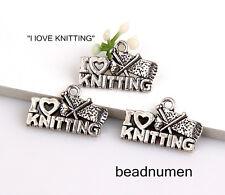 "20pcs Zinc alloy ""L love KNITTING"" pendants 20x13mm 1A1706"