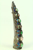 *Antique FINE Silver, Gems & Enamel Chinese Fingernail Guard Brooch Filigree