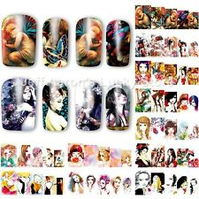 12PCS beauty girl water transfer nail art sticker decals decoration tools 181192