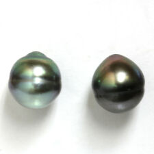 Tahitian South Sea Pearl Stud Earrings  Black / Green 14kt Yellow gold