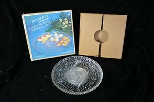 1960's INDIANA GLASS Diamond Point Lazy Susan Divided Crystal Tray W Spinner 12""
