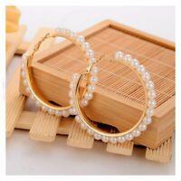 Fashion Women Big Circle Beads Drop Dangle Ear Stud Earring Wedding Jewelry Gift