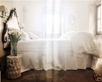 """Fitted SHEET 100 % Pure Linen White / Depth: 10"""", 14"""", 18"""" US Sizes"""