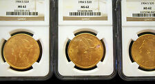 "SET OF  3 X 1904 S ""SAN FRANCISCO"" MS62 NGC $20 GOLD LIBERTY  PRICE ONE COIN"