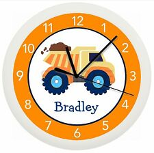 Personalized Dumptruck Wall Clock Orange Blue Brown Children'S Bedroom Decor