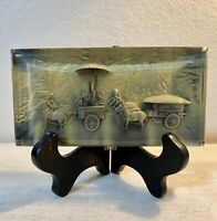 """Vintage 3D Hand Carved Lucite Paperweight Asian Scene 7""""x 3.5""""x 1"""" UNIQUE"""