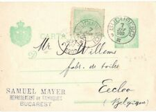 1902 Romania 5 Bani Stationery Uprated Bucuresti to Eecloo Belgique Belgium
