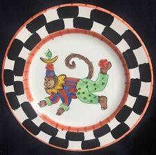 """PRESENT TENSE MONKEY BUSINESS RED 9 3/4"""" DINNER PLATE ITALY ANNE HATHAWAY NEW"""