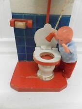 Antique Europe Wooden Handmade Toilet Restroom Flushes ! 1950's Doll House RARE