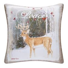 PEACE DEER PILLOW : INDOOR OUTDOOR CHRISTMAS BUCK SNOW HUNT ACCENT CUSHION